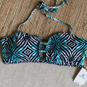 Volcom Bandeau Bikini Top in Zebra print